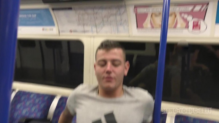 Hung Young Brit - Extremely high risk sex live on busy London Underground train