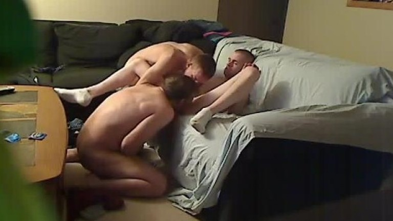 Gay couple fucks straight guy