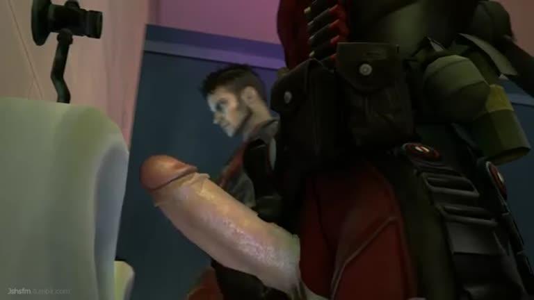Deadpool fodendo o Dante no banheiro (animação)